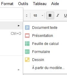 Menu Google Document